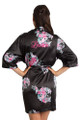 Personalized Embroidered Black Floral Robe Crop