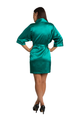 Personalized Print Embroidered Teal Satin Robe