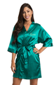 Personalized Embroidered Teal Satin Robe