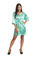Personalized Embroidered Print Mint Green Satin Robe
