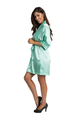 Personalized Print Embroidered Mint Green Satin Robe
