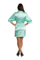 Personalized Print Embroidered Monogram Mint Green Satin Robe