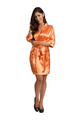 Personalized Print Rhinestone Orange Satin Robe