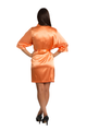 Personalized Print Embroidered Monogram Orange Satin Robe
