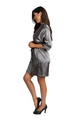 Personalized Print Rhinestone Grey Satin Robe