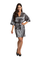 Personalized Print Rhinestone Grey Robe