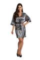 Personalized Print Rhinestone Grey Robe