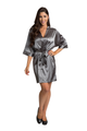 Personalized Embroidered Monogram Grey Satin Robe