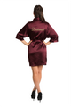 Gold Thread Embroidered Burgundy Bridesmaid Satin Robe