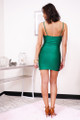 sleeveless green mini dress