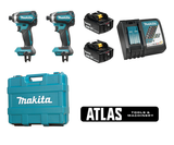 "Makita MAK-DLX2186M 18V 2 Piece Brushless 1/4"" Cordless Impact Driver Combo Kit"