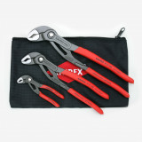 """Knipex KNIP-9K0080122US  3 Pc Cobra Pliers Set w/ Keeper Pouch, 5"""", 10"""" & 12"""""""