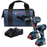 Bosch GXL18V-224B25 18V 2-Tool Combo Kit with Freak 1/4 In. and 1/2 In. Two-In-One Bit/Socket Impact Driver and Brute Tough 1/2 In. Hammer Drill/Driver