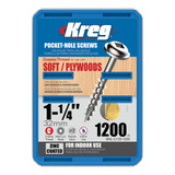 Kreg Tool KREG-SMLC1251200 8X1-1/4 Zinc Coarse Maxi-Loc Pocket-Hole Screws (QTY 1200)