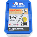 Kreg Tool KREG-SMLC125250 8X1-1/4 Zinc Coarse Maxi-Loc Pocket-Hole Screws (QTY 250)