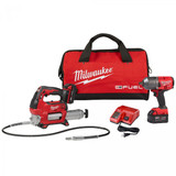 Milwaukee 2767-22GG M18 Fuel High Torque 1/2 Impact Wrench + Grease Gun Deluxe Kit