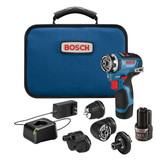 Bosch BOS-GSR12V-300FCB22 12V Max EC Brushless Flexiclick 5-In-1 Drill/Driver System with (2) 2.0 Ah Batteries