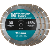 """Makita MAK-B-69646 14"""" Diamond Blade, Segmented, General Purpose, Contractor 3/pk"""