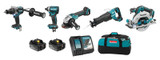 Makita MAK-DLX5041TX1 18V LXT Brushless 5 Piece Combo 2x 5.0Ah Kit