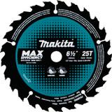 "Makita MAK-B-62963 6‑1/2"" 25T Carbide‑Tipped Max Efficiency Circular Saw Blade, Framing"
