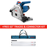 Bosch BOS-GKT13-225L-FSN1600X2B 6-1/2 In. Track Saw with Plunge Action and L-Boxx Carrying Case + BONUS 63 In. Tracks and Connector Kit