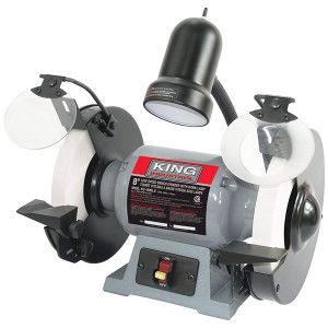 """King Industrial KC-895LS 8"""" Low Speed Bench Grinder With Light"""
