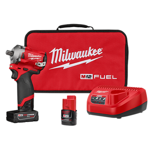 "Milwaukee 2555P-22 M12 FUEL 1/2"" Stubby Impact Wrench w/ Pin Detent Kit"