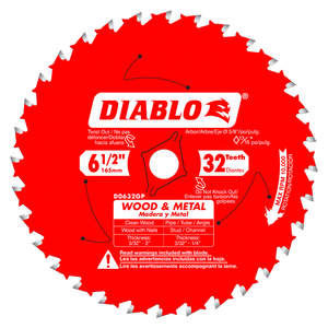 Freud FRE-D0632GPA Diablo 6-1/2 in. x 32 Tooth Wood & Metal Carbide Saw Blade - Diablo D0632GPA