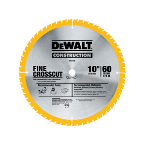 DeWALT DW3106 Large Diameter Construction Saw Blade 10in 60T Fine Crosscut Blade