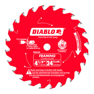Freud FRE-D0424X Diablo 4‑1/2 in. x 24 Tooth Framing Trim Saw Blade