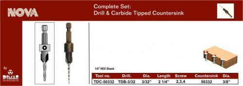 Dimar DIM-TDC-50332  Carbide Countersink for 5,6,7, Screws