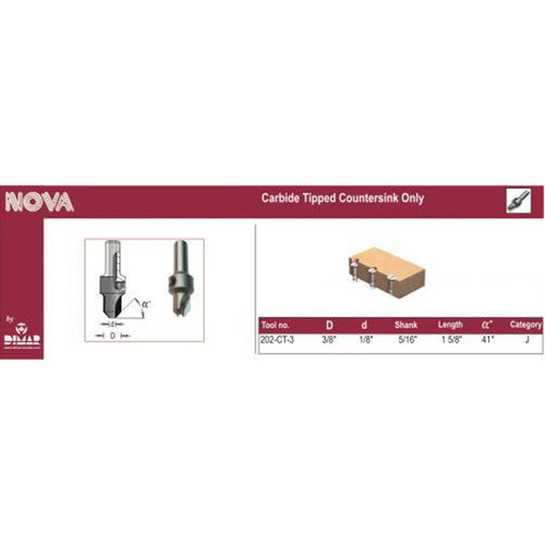 Dimar 202-CT-3 Carbide Countersink for 8 Screw, use with 1/8
