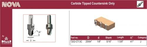 Dimar DIM-202-CT-3C  Carbide Countersink, for 8 Screws, use with 1/8 D