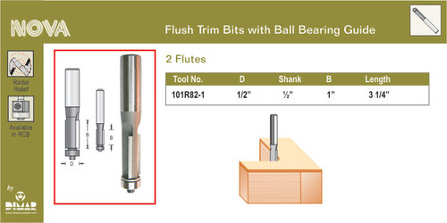 Dimar 101R82-1  FLUSH TRIM BIT 1/2X1