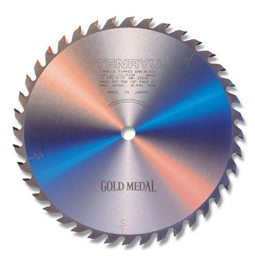 "Tenryu TEN-GM-25540-2 10"" 40T, ATB Gold Medal Table Saw Blade"