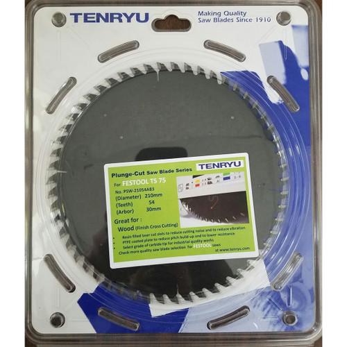 Tenryu PSW-21054AB3 210mm 54T, 30mm,Festool TS75 Wood Crosscut Blade