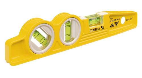 "Stabila STAB-25245 10"" Magnetic Torpedo Level With 45 Degree Vial & V Groove Base"