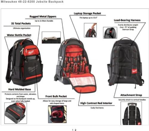 d5c29ccdaff2 Milwaukee 48-22-8200 Jobsite Back Pack - Atlas-Machinery Ltd.