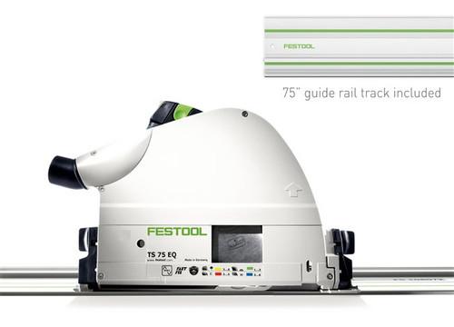 "Festool FES-575390 TS 75 EQ Plunge Cut Track Saw + 75"" Guide Rail Track"