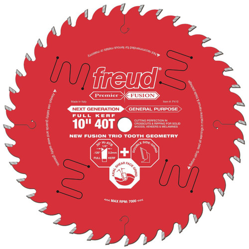 """Freud FRE-P410  Premier Fusion 10"""" 40 Tooth Saw Blade with 5/8"""" Arbor"""