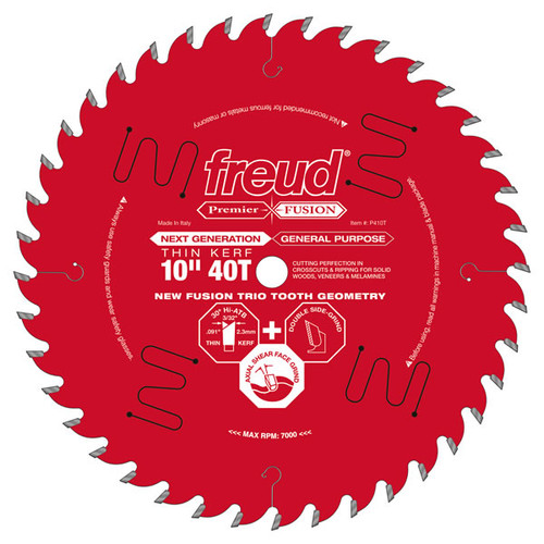 "Freud FRE-P410T  Premier Fusion Thin Kerf 10"" 40 Tooth Saw Blade with 5/8"" Arbor"