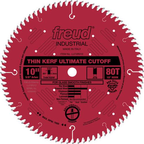 """Freud FRE-LU74R010  10"""" 80 Tooth Thin Kerf Ultimate Cutoff Saw Blade"""