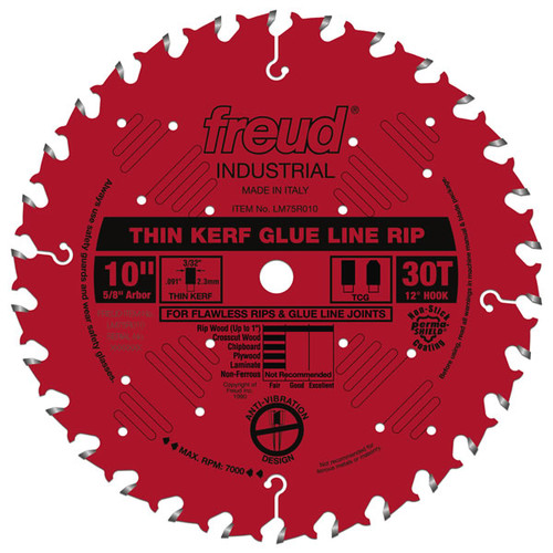 "Freud FRE-LM75R010  10"" Industrial Thin Kerf Glue Line Ripping Blade"