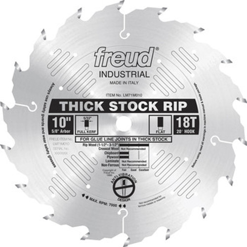 "Freud FRE-LM71M010  10"" 18 Tooth FTG Thick Stock Rip Saw Blade"