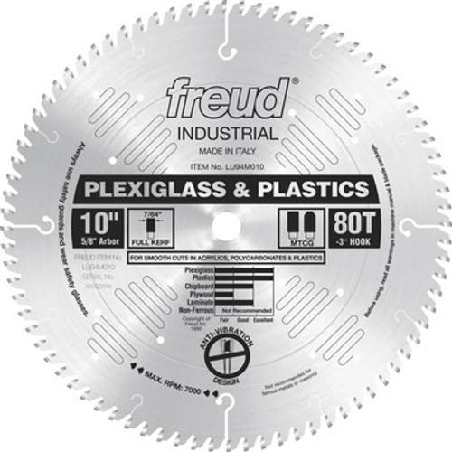"Freud FRE-LU94M010  10"" 80 Tooth Full Kerf MTCG Plexiglass & Plastics Blade"