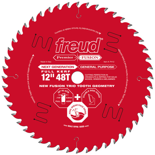 """Freud FRE-P412  Premier Fusion 12"""" 48 Tooth Saw Blade with 1"""" Arbor"""