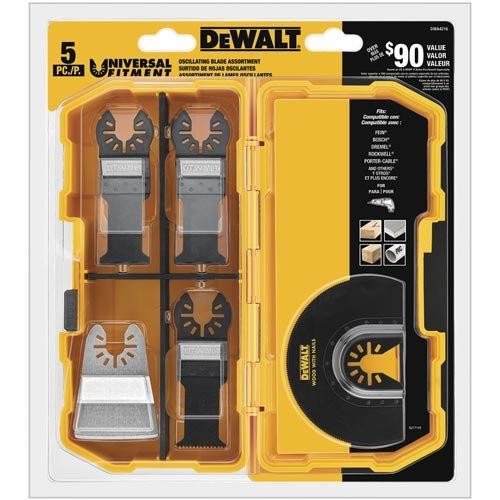 Dewalt DWA4216  Oscillating 5-Piece 2 Wood with Nail Blades, 1 Fast Cut Wood Blade, 1 Rigid Scraper Blade, 1 Titanium Flush Cut Blade