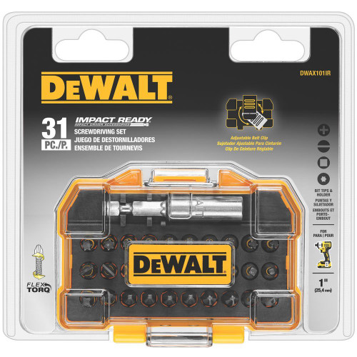 Dewalt DWAX101IR  31 PC Impact Ready Bit Set with Flex Torque Compact Tough Case