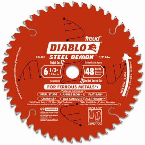 Freud FRE-D0648F  6-1/2-Inch X 48-Tooth Steel Demon TCG Ferrous Cutting Circular Saw Blade 5/8-Inch Arbor