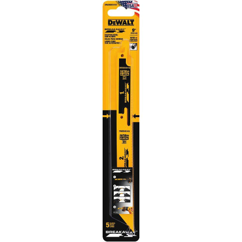 "Dewalt DWABK491418  9"" BREAKAWAY Reciprocating Saw Blades 5 pack"